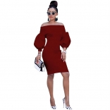 WineRed Off-Shoulder Long Sleeve Bodycons Women OL Dress