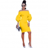 Yellow Off-Shoulder Long Sleeve Bodycons Women OL Dress