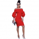 Red Off-Shoulder Long Sleeve Bodycons Women OL Dress
