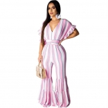 Pink Sleeveless Printed Stripped V-Neck Women Jumpsuit Dress