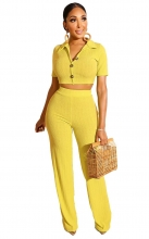 Yellow Short Sleeve Cotton Knitting Stripped Women Catsuit Dress