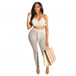 White Halter Nets Hollow-out V-Neck Sexy Jumpsuit