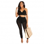 Black Halter Nets Hollow-out V-Neck Sexy Jumpsuit