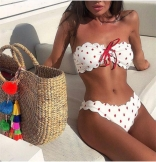Red Off-Shoulder Sexy Printed Swimwear