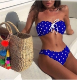 Blue Off-Shoulder Sexy Printed Swimwear