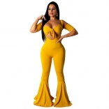 Yellow Halter V-Neck Sexy Bodycons 2PCS Jumpsuit