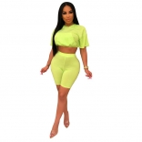 Green Short Sleeve Hollow-out 2PCS Sexy Pant Sets