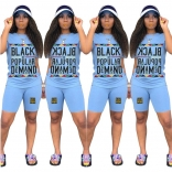 Blue Short Sleeve Printed Women Pant Sets