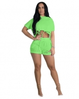 Green Short Sleeve Hollow-out 2PCS Hoody Pant Sets