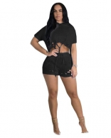 Black Short Sleeve Hollow-out 2PCS Hoody Pant Sets