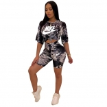 Black Short Sleeve Printed Women Sexy Pant Sets