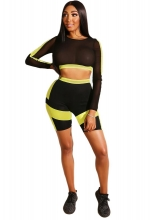 Yellow Long Sleeve 2PCS Mesh Women Pant Sets