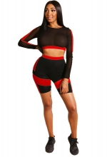 Red Long Sleeve 2PCS Mesh Women Pant Sets