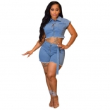 Blue 2PCS Women Sexy Jeans Short Sets