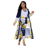 Yellow Short Sleeve Printed Women 2PCS Fashion Jersey Dress