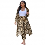 Leopard Short Sleeve Printed Women 2PCS Fashion Jersey Dress
