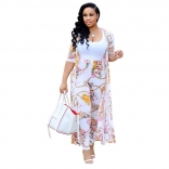White Short Sleeve Printed Women 2PCS Fashion Jersey Dress