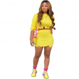 Yellow Long Sleeve O-Neck Cotton Bodycon Mini Dress