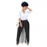 Black Women Fashion Tassels Jeans Pants