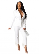 White Long Sleeve V-Neck 2PCS Women Catsuit Dress