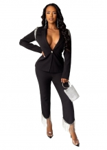 Black Long Sleeve V-Neck 2PCS Women Catsuit Dress