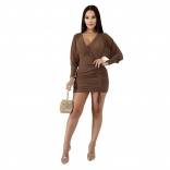 Brown Long Sleeve Deep V-Neck Mesh Sexy Bodycon Dress