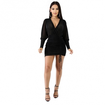 Black Long Sleeve Deep V-Neck Mesh Sexy Bodycon Dress