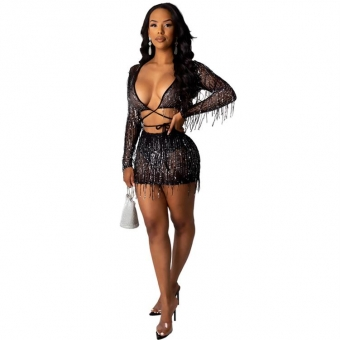 Black Long Sleeve V-Neck Mesh Lace Sequins Mini Dress