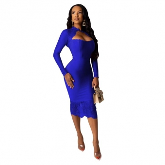 Blue Long Sleeve Lace Low-Cut Bodycons Midi Dress