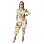 White Long Sleeve Printed US Dollars Sexy Jumpsuit