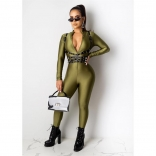Green Long Sleeve Deep V-Neck Zipper Sexy Jumpsuit