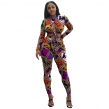Yellow Long Sleeve Printed Women Sexy Jumpsuit