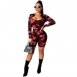 Red Long Sleeve 2PCS Bodycons Printed Sexy Rompers