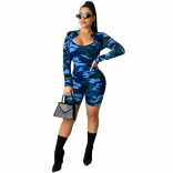 Blue Long Sleeve 2PCS Bodycons Printed Sexy Rompers