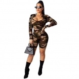 ArmyGreen Long Sleeve 2PCS Bodycons Printed Sexy Rompers