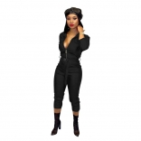Black Long Sleeve Zipper V-Neck Leather Strench Jumpsuit With Belt