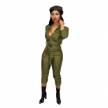 Green Long Sleeve Zipper V-Neck Leather Strench Jumpsuit With Belt