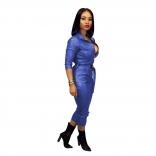 Blue Long Sleeve Zipper V-Neck Leather Strench Jumpsuit With Belt
