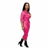 RoseRed Long Sleeve Zipper V-Neck Leather Strench Jumpsuit With Belt