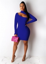 Blue Long Sleeve Halter Hollow-out Cottons Bodycon Mini Dress