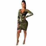 Green Long Sleeve V-Neck Printed Women Bodycon Dress