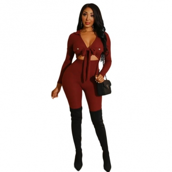 Red Long Sleeve V-Neck Bodycon Women Sexy Jumpsuit
