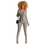 Gray Long Sleeve V-Neck Bodycon Women Sexy Jumpsuit