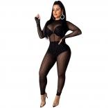 Black Long Sleeve Mesh Hollow-out Bandage Sexy Jumpsuit