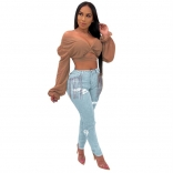 Light Blue Tassels Hole Jeans Sexy Trousers