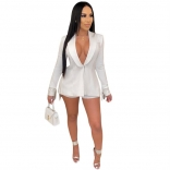White Long Sleeve V-Neck Fashion Jacket Tassels Sexy Shorts