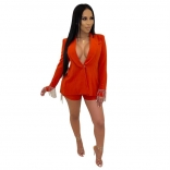 Red Long Sleeve V-Neck Fashion Jacket Tassels Sexy Shorts