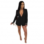 Black Long Sleeve V-Neck Fashion Jacket Tassels Sexy Shorts