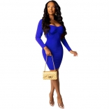 Blue Long Sleeve Low-Cut V-Neck Bodycon Mini Dress