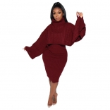 WineRed Two-Piece Cotton Women Fashion Turtleneck Sweater